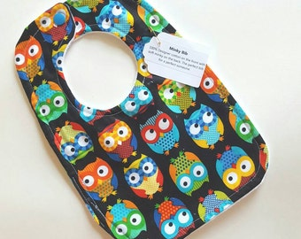Midnight Owls Minky Bib