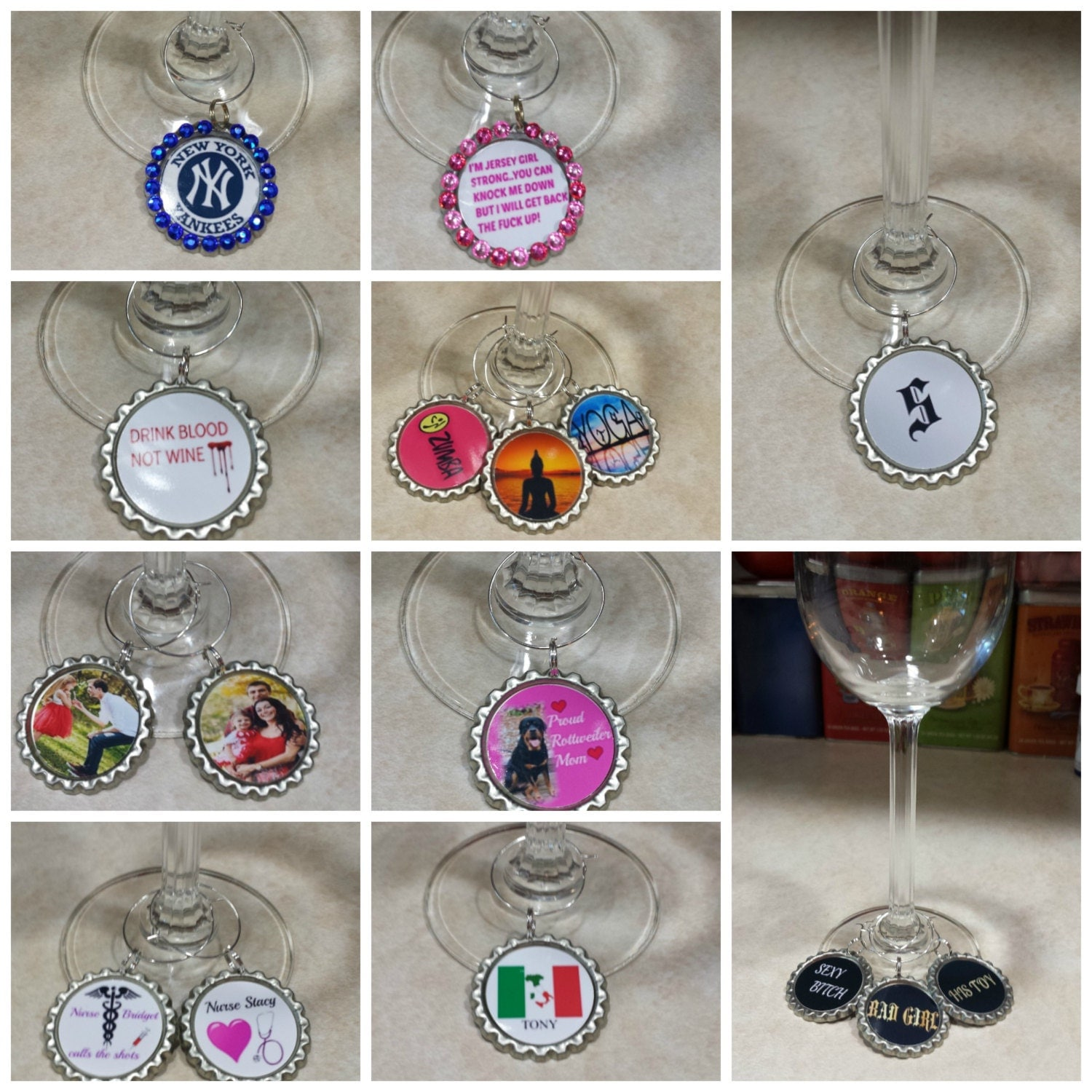 personalized wine charms wine gifts gifts for sports