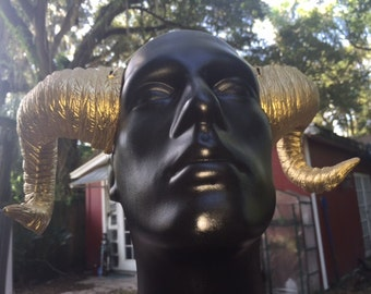 "Gold Horns ""Chrysomallus""  Metallic Gold Wearable Ram Horns - cosplay, costume, rugged, comfortable."
