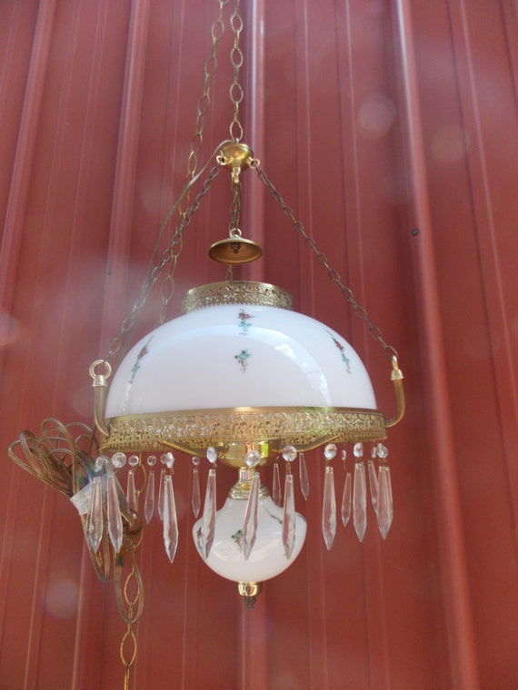 Vintage Milk Glass Floral Chandelier Swag Lamp with Glass