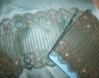 Metallic gold lace 1920s authentic yardage by the yard with spruce color lace