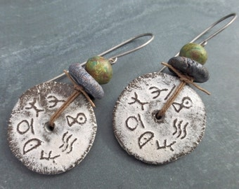 Signs From The Ancients - Ceramic Discs With Ancient Symbols Tribal Earrings - Hypoallergenic Titanium Ear Wires - Rustic - Primitive - Boho