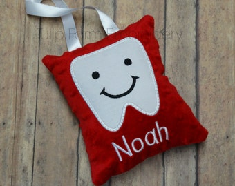 Tooth Fairy Pillow Personalized -  Tooth Fairy Pillow - Boy Tooth Fairy Pillow - Minky Tooth Fairy Pillow - Embroidered Tooth Fairy Pillow