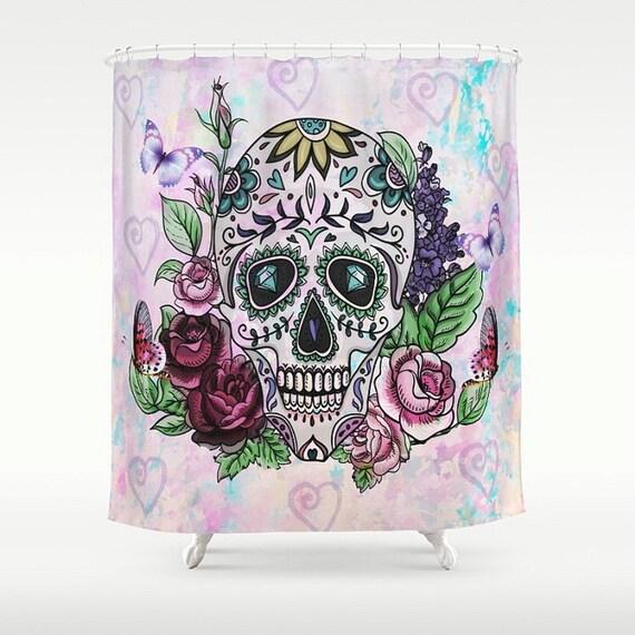 sugar skull shower curtain passionate pastel my sugar skulls. Black Bedroom Furniture Sets. Home Design Ideas