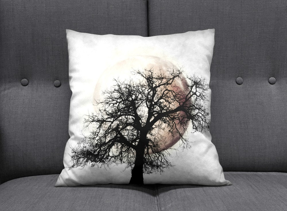 Primitive Grunge Moon and Tree Throw Pillow Dusk