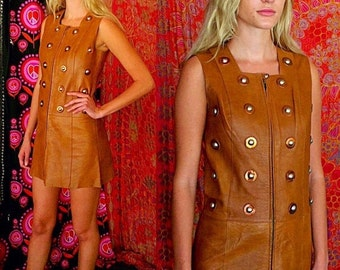 SHANNONMYINDI10 Vintage 60s 70s Leather Embroidered Couture Saks Fifth Ave France So Stunning Mini Dress Small