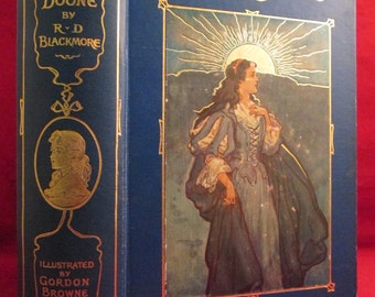 Lorna Doone by R.D. Blackmore 1890s Fine Binding w/ Color Plates Rare Antique Book