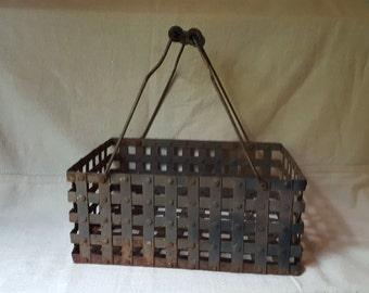 Vintage Industrial Metal Basket