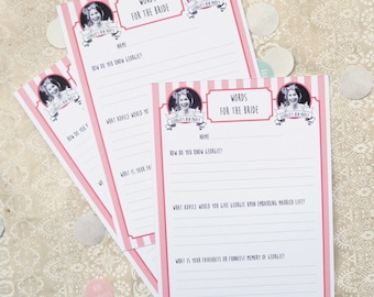 Personalised Words for the Bride Cards // Hen Party Activity // 10 cards per pack