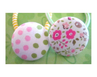 Preppy dots and flowers button Ponytail Holders