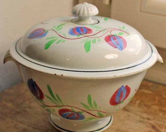 Vintage end of 19th century french Cafe bowl with lid by creil et montereau /Small soup tureen  / Hand paint Cafe au lait bowl iron stone