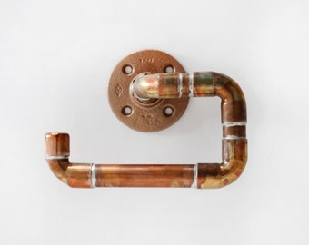 Pipe Hand Towel Holder, Copper Towel Ring, Handcrafted Bathroom Accessory. Study and Great with all Towel Colors