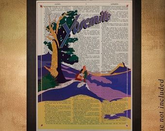 Vintage Yosemite travel poster dictionary art print Yosemite Poster Wall Art Home Decor California da1270
