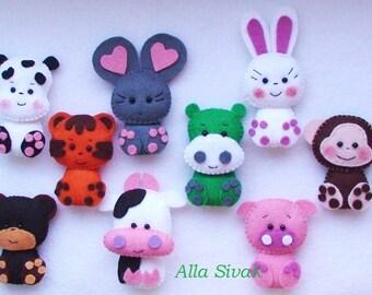 Set of animals, Fridge Magnet, ANIMALS felt magnets, Soft fridge magnet funny fridge magnet, Childrens magnets, baby animals, Felt Miniature