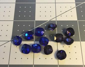1cm by 1cm Purple&Blue  Square Rhinestone