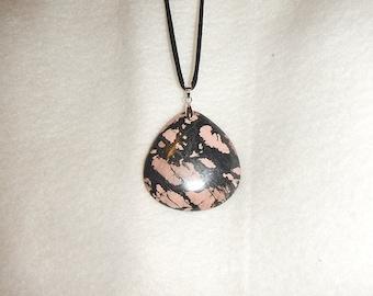 Teardrop shaped Black and Pink Rhodonite pendant (JO450)