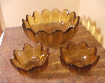 Vintage 1960s Mid-Century Modern 4-Piece Blenko Amber Scalloped Salad Bowl Set