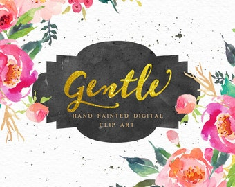Watercolour Floral Clip Art-Gentle garden/ Individual PNG files/Hand Painted/wedding