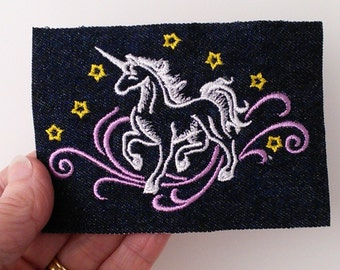 Unicorn iron on patch, denim patch, embroidered unicorn with stars on denim, mythical creature, fantasy patch.