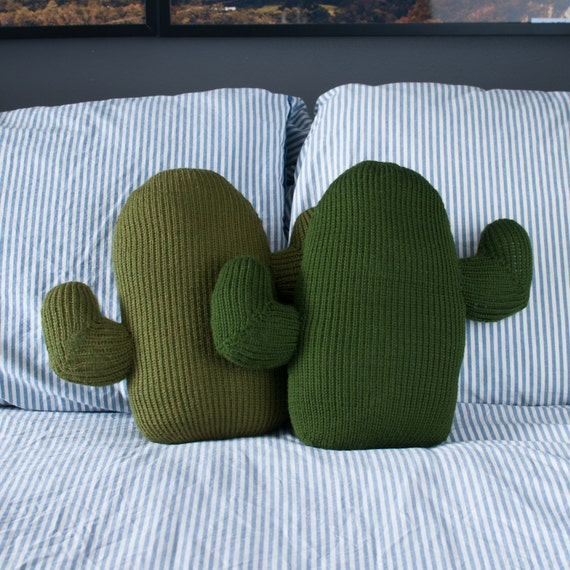 Knitted Cactus Pillow By Thornandneedle On Etsy