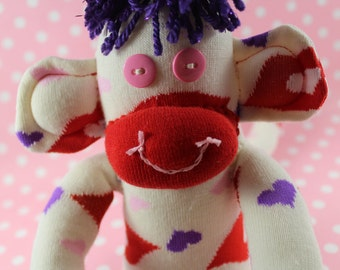 Sock Monkey / Valentine's Day / Hearts and Kisses / Ivory with Purple, Red, and Pink / Valentine's Day Gift / Gifts for Her / Unique Gift