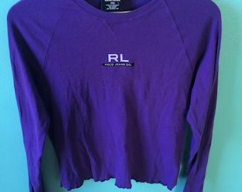 VINTAGE RALPH LAUREN 90s ruffle top, rl polo jeans co/long sleeve/purple