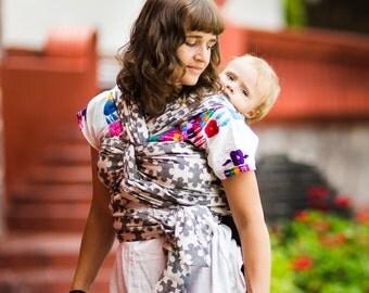 Woven Baby Wrap - Daiesu Jigsaw Black - Baby Wrap - Baby Carrier - Woven Wrap Baby Carrier