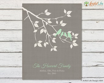FAMILY NAME GIFT Print, Family Tree Print, Gift for Parents, Family Tree Gift Print, Love Bird Family on Tree Branch, Woodland Home Decor