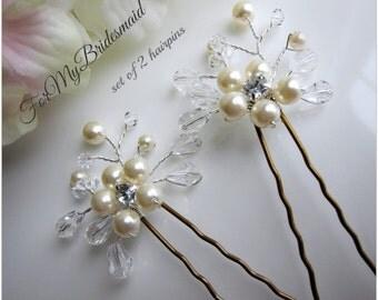 pearl and crystal hair pins, gold or silver hair pin, bridal hair pin, gold silver rhinestone hair pins, wedding hairpin, wedding bobby pin