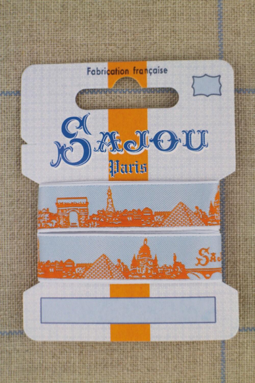 Paris orange and sky blue ribbon one metre card from for Paris orange card