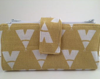 Dave Ramsey Style Cash Envelope System (Yellow TeePee & Grey Triangles) 4 zippers