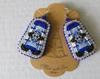 Blue & White Beaded Native American Earrings