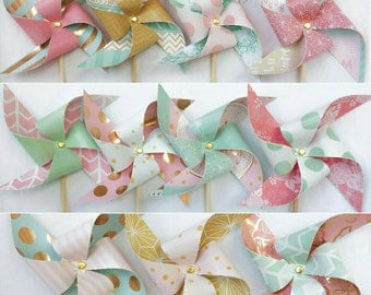 Pinwheels - Mint Green, Rose Pink, and Gold - Set of 11