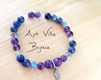 Amethyst and sodalite gemstone bracelet