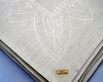 HIGHEST QUALITY LINEN 12 damask Dinner Napkins Czechoslovakia 20in x 20in off white