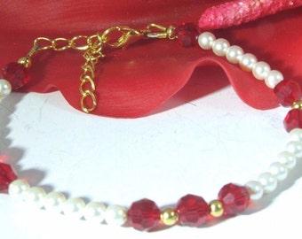 Red Swarovski Crystals and Swarovski Creamrose Pearls