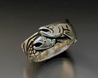 Two Trout Silver Ring with Diamonds