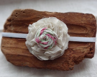 Baby Hair Band - IVORY Headband - girl Headband - Newborn Fabric flower Toddler Headband  Flower Headband - Easter headbands baby headband,