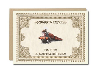 Harry Potter Birthday Card, Geek Birthday Cards, Hogwarts Express, Geeky Wishes A6 size, 300 gsm