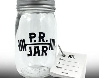WEIGHTLIFTING PR JAR // Personal Record Gratitude Jar for Powerlifting, Strongman, Weight Lifting, Crossfit // Fitness Motivation Keepsake