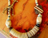 Carved Giraffe Wood Beaded Necklace Tribal Boho Designer Runway Statement Necklace Brown Cream Mint