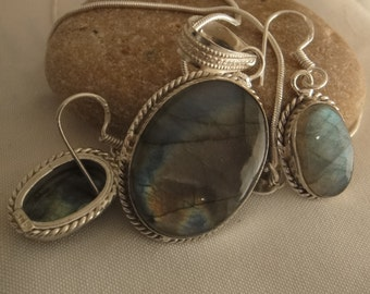 Labradorite #Sterling Silver Earring Necklace Set Sterling Silver Plated Jewelry Labradorite Earring, Labradorite Necklace High Fashion