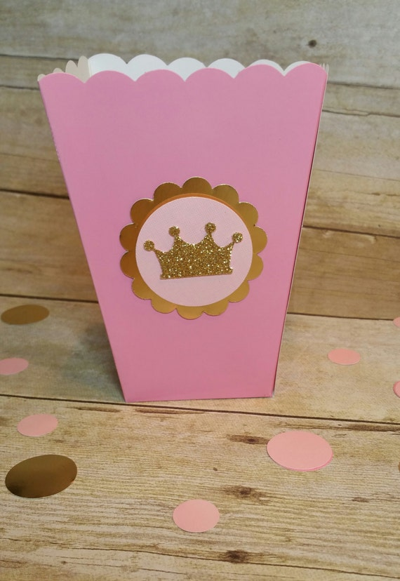 Blue Popcorn Favor Boxes : Royal blue and gold popcorn box prince party favor crown