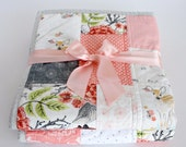 Patchwork Baby Quilt~ Homemade Baby Quilt~Pink & Grey Nursery~Baby Girl Quilt~ Coral Nursery~ Woodland Nursery Bedding~ Baby Quilts For Sale