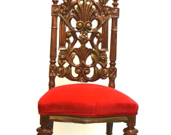 Stunning Red Velvet Carved Antique Hall Chair- Around 1915