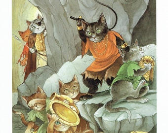 Susan Herbert Cats Slaves and Gold Treasure, Fine Art Print, Book Page, Illustration, Wall Decor, Cat Lovers CO13