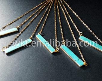 WT-P372 New! Wholesale long bail rectangle turquoise pendant necklace