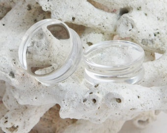 """Large Clear Glass Double Flared Plugs (Pair) 8mm (0G) 10mm (00G) 12mm 14mm (9/16"""")  25mm (1"""") 28mm (1 1/8"""") 32mm (1 1/4"""") 35mm (1 3/8"""") 38mm"""