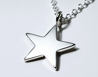 Sterling Silver Star Necklace Pendant - Sterling Star Pendant, Sterling Star Necklace, Star Necklace, Star Pendant, Sterling Silver Star