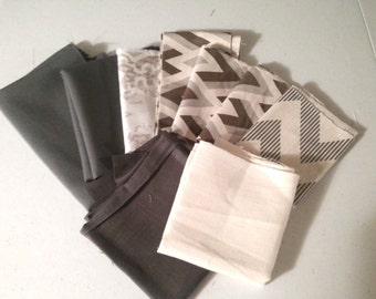 Brown, Grey, Natural, Beige, Taupe, Tan Home Decor Fabric Scraps - Geometric Linen - Home Decor Quilting Fabric Remnant Scraps Bundle Pack
